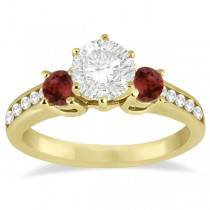 Three-Stone Garnet & Diamond Engagement Ring 18k Yellow Gold (0.45ct)