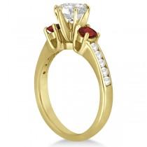 Three-Stone Garnet & Diamond Engagement Ring 18k Yellow Gold (0.45ct)