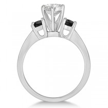 3 Stone White & Black Diamond Engagement Ring 14K White Gold (0.45 ctw)