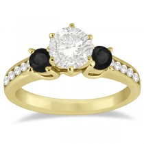 3 Stone White & Black Diamond Engagement Ring 14K Yellow Gold (0.45 ctw)