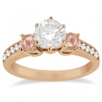 Three-Stone Morganite & Diamond Engagement Ring 14k Rose Gold (0.45ct)