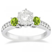 Three-Stone Peridot & Diamond Engagement Ring 18k White Gold (0.45ct)