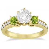 Three-Stone Peridot & Diamond Engagement Ring 18k Yellow Gold (0.45ct)