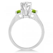 Three-Stone Peridot & Diamond Engagement Ring Palladium (0.45ct)