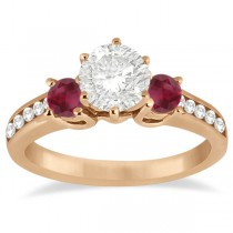 Three-Stone Ruby & Diamond Engagement Ring 18k Rose Gold (0.60ct)