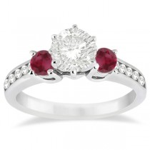 Three-Stone Ruby & Diamond Engagement Ring Palladium (0.60ct)