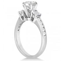 Three-Stone White Topaz & Diamond Engagement Ring 14k W. Gold (0.45ct)