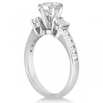 Three-Stone White Topaz & Diamond Engagement Ring 18k W. Gold (0.45ct)