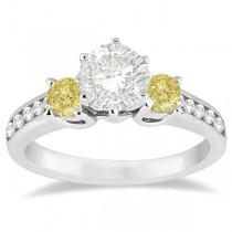 3 Stone White & Yellow Diamond Engagement Ring 14K White Gold (0.45 ctw)