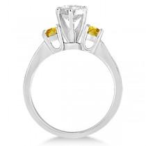 3 Stone Yellow Sapphire & Diamond Engagement Ring 14k W. Gold (0.45ct)