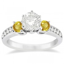 3 Stone Yellow Sapphire & Diamond Engagement Ring 18k W. Gold (0.45ct)