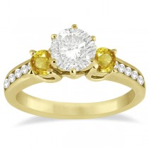 3 Stone Yellow Sapphire & Diamond Engagement Ring 18k Y. Gold (0.45ct)