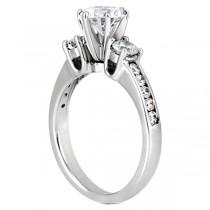 Three-Stone Diamond Engagement Ring w/ Sidestones Platinum (0.45ct)