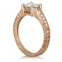 Antique Diamond Vintage Engagement Ring Setting 18k Rose Gold (0.20ct)