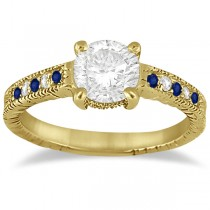 Vintage Blue Sapphire & Diamond Engagement Ring 14k Yellow Gold 0.31ct