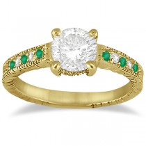 Vintage Emerald & Diamond Engagement Ring 14k Yellow Gold 0.29ct