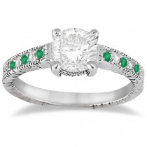 Vintage Emerald & Diamond Engagement Ring Palladium 0.29ct