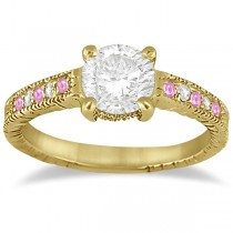 Vintage Pink Sapphire & Diamond Engagement Ring 14k Yellow Gold 0.31ct
