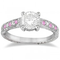 Vintage Pink Sapphire & Diamond Engagement Ring Palladium 0.31ct