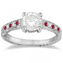 Vintage Ruby & Diamond Engagement Ring 14k White Gold 0.31ct