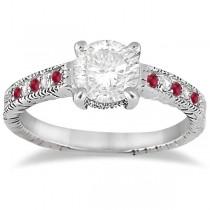 Vintage Ruby & Diamond Engagement Ring 14k White Gold 0.31ct