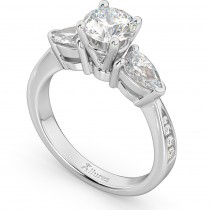 Three Stone Pear Cut Diamond Engagement Ring 14k White Gold (0.51ct)
