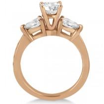 Three Stone Pear Cut Diamond Engagement Ring 18k Rose Gold (0.51ct)