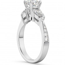 Three Stone Pear Cut Diamond Engagement Ring 18k White Gold (0.51ct)