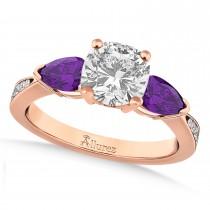 Cushion Diamond & Pear Amethyst Engagement Ring 14k Rose Gold (1.29ct)