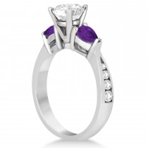 Cushion Diamond & Pear Amethyst Engagement Ring 14k White Gold (1.29ct)
