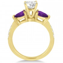 Cushion Diamond & Pear Amethyst Engagement Ring 14k Yellow Gold (1.29ct)