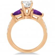 Cushion Diamond & Pear Amethyst Engagement Ring 18k Rose Gold (1.29ct)