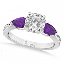 Cushion Diamond & Pear Amethyst Engagement Ring 18k White Gold (1.29ct)