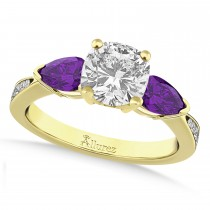 Cushion Diamond & Pear Amethyst Engagement Ring 18k Yellow Gold (1.29ct)