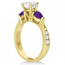 Cushion Diamond & Pear Amethyst Engagement Ring 18k Yellow Gold (1.29ct)