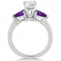Cushion Diamond & Pear Amethyst Engagement Ring in Palladium (1.29ct)