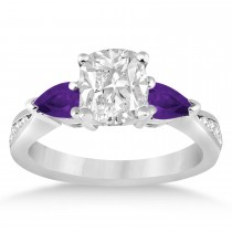 Cushion Diamond & Pear Amethyst Engagement Ring in Platinum (1.29ct)