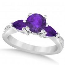 Diamond & Pear Cut Amethyst Engagement Ring 14k White Gold (1.79ct)
