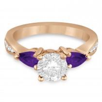 Round Diamond & Pear Amethyst Engagement Ring 14k Rose Gold (1.79ct)