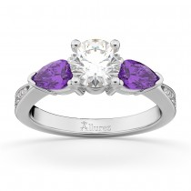 Round Diamond & Pear Amethyst Engagement Ring 14k White Gold (1.79ct)