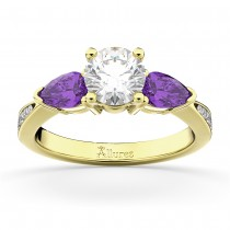 Round Diamond & Pear Amethyst Engagement Ring 14k Yellow Gold (1.79ct)