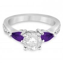 Round Diamond & Pear Amethyst Engagement Ring 18k White Gold (1.79ct)