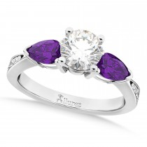 Round Diamond & Pear Amethyst Engagement Ring in Palladium (1.79ct)