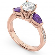 Diamond & Pear Amethyst Engagement Ring 14k Rose Gold (0.79ct)