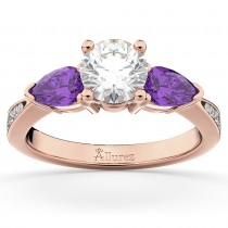 Diamond & Pear Amethyst Engagement Ring 18k Rose Gold (0.79ct)