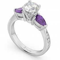 Diamond & Pear Amethyst Engagement Ring 18k White Gold (0.79ct)
