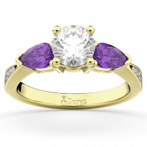 Diamond & Pear Amethyst Engagement Ring 18k Yellow Gold (0.79ct)