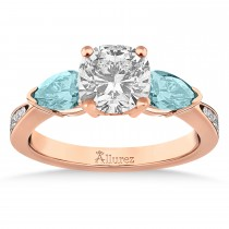 Cushion Diamond & Pear Aquamarine Engagement Ring 14k Rose Gold (1.29ct)