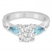 Cushion Diamond & Pear Aquamarine Engagement Ring 14k White Gold (1.29ct)