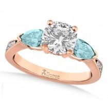 Cushion Diamond & Pear Aquamarine Engagement Ring 18k Rose Gold (1.29ct)